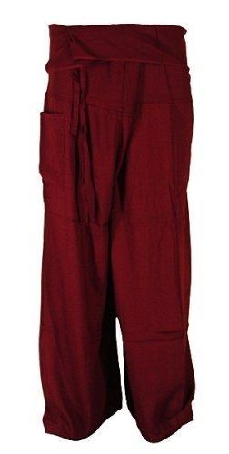 Thai Fisherman Pants Yoga bordeaux écharpe longue pantalons paréos douces