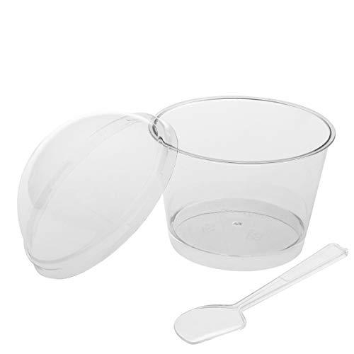 BESTONZON 10 Sets 140 ml Plastik Portionierbecher Einweg-Mini-Dessertbecher Moussebecher Gelee Behälter mit Deckel und Löffel (transparent) -