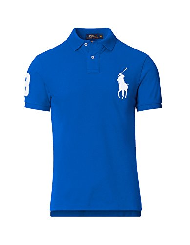 Ralph Lauren Polo Herren Poloshirt Big Pony Custom FIT, Original, Outletware, Größe:L, Farbe:Royal -