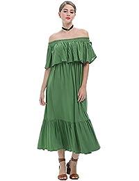 JOTHIN Damen Sexy Schulterfrei Ballkleid Elegant Süße Abendkleider Stretch  Schlank Kleid College Casual Dress b9cfdd30aa