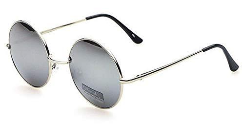 Sonnenbrille Unisex Rund Hippie Brille John Lennon getönt 400UV langer Steg silber verspiegelt