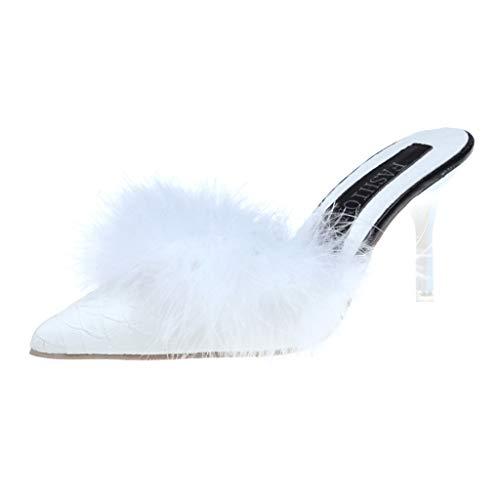 Dragon868 Sandali Donna Brasiliana Pantofole Peluche Decor Scarpe Tacchi a Spillo Eleganti Sandali a Punta Donna con Tacco Alto 7cm Formale Cerimonia Bianco Nero Rosa Caldo