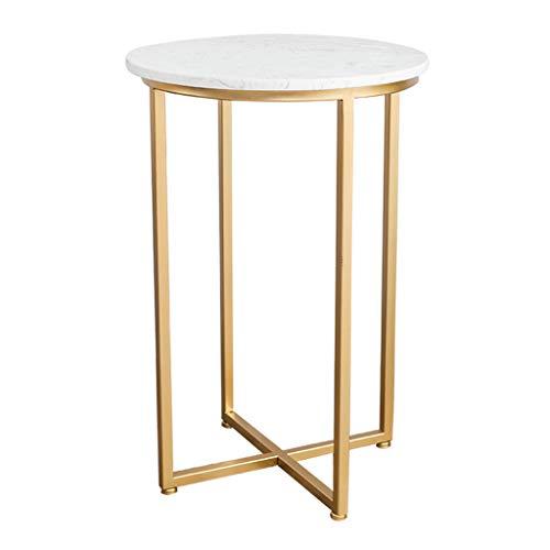 Seite Tee-tabelle (XSJ - Couchtische Beenden Sie Cocktail Table Moderne Runde Seite Sofa Kleine Kaffee-Tee-Tabelle für Zuhause, Wohnzimmer, Büro - 40/50 cm Kreis Marmor (Weiß))