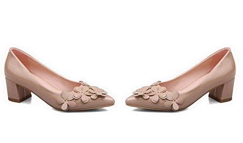 VogueZone009 Femme à Talon Correct Couleur Unie Tire Verni Pointu Chaussures Légeres Beige
