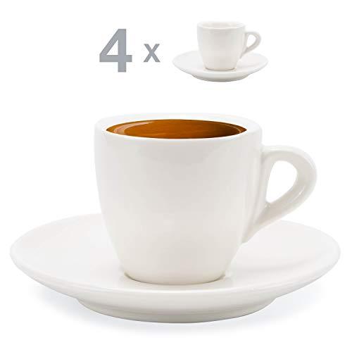 Hausmann & Söhne Espresso Tassen dickwandig | Set 8-TLG. | 4er Set weiße Tassen mit Untertasse | Porzellan | Tasse 80 ml | Espresso Tassen Set mit Untersetzer | Geschenkidee