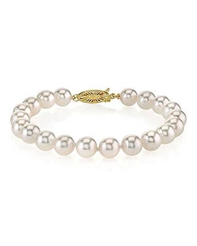 18K or 7,5–8,0mm japonais blanc–Bracelet Femme–perle de culture Akoya de qualité AAA