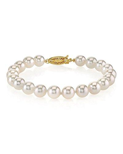 18 K + da 7- 7,5 mm, in oro, perle giapponesi Akoya AAA-Braccialetto di alta qualità e Oro giallo, colore: oro/bianco, cod. 1