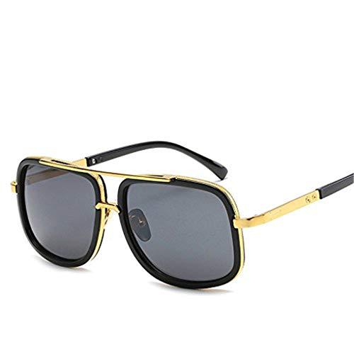 SHE.White Metallrahmen Square Sonnenbrille Unisex Sonnenbrille Verspiegelt Piloten Brille Spiegel Linsen Luxus Eyewear