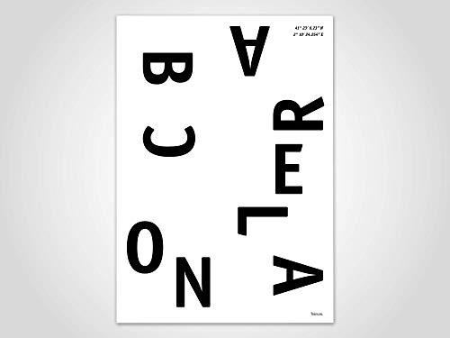 Barcelona/Poster, Stadt, Ort, Metropolen, Geografie, Spanien, Stadtposter, Landkarte, Kunstdruck, skandinavisch, Deko, Weihnachten, Map, Spanien