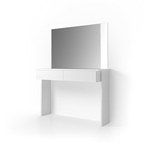 OSKAR Schminktisch Azur mit Spiegel Weiß Hochglanz Kosmetiktisch Frisierkommode Frisiertisch (Schminktisch + Spiegel)