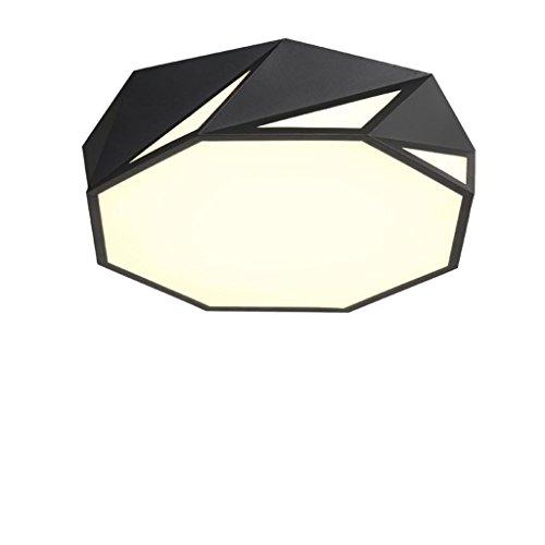 Marcus R Caveggf Simple Geometric Nordic Style Decke LED Deckenleuchte Wohnzimmer Schlafzimmer Studie Beleuchtung, weiß/warm/Remote Dimmen, Sand Black - Diameter 42cm-20w- White Light