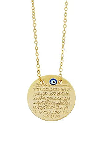 Remi Bijou Gravurplatte Halskette Kette + Anhänger - Ayetel Kursi - Gold Farbe Böser Blick Muslim Evil Eye türkisches Auge Nazar Boncuk