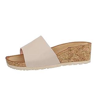 Ital-Design Damenschuhe Sandalen & Sandaletten Pantoletten Synthetik Beige Gr. 40