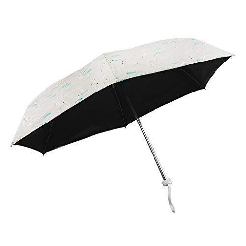 YJZQ Parapluie Anti-UV Pare-Soleil de Voyage Pliant Manuel Parapluie Automatique Mini Parasol Portagble Résistant au Vent Imperméable à l'eau Ombrelle Umbrella Aimable Anti-retournement pour Filles