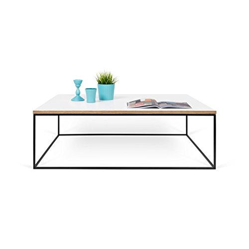 Paris Prix - Temahome - Table Basse Gleam 120cm Blanc & Métal Noir