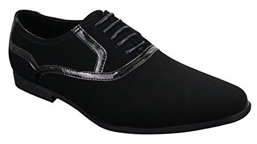 Chaussures hommes fines daim cuir verni brillant lacets smart décontracté noir Noir