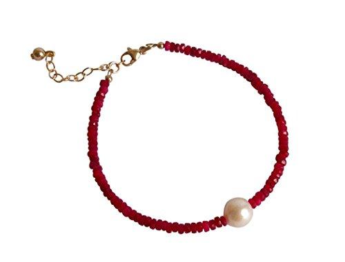 Gemshine - Damen - Armband - Vergoldet - Rubin - Rot - Perle - Weiß