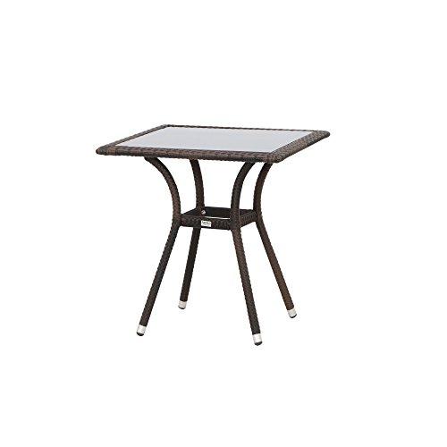 Siena Garden Tisch Wien, 70x70x73cm, Gestell: Aluminium, pulverbeschichtet, Fläche: Gardino-Geflecht in maron,Tischplatte: Glas