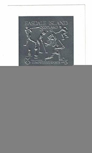 sellos para coleccionistas–Conjunto de dos sellos con deportes de competición, una hoja de oro y un/de lámina plateada Easdale Island- Escocia