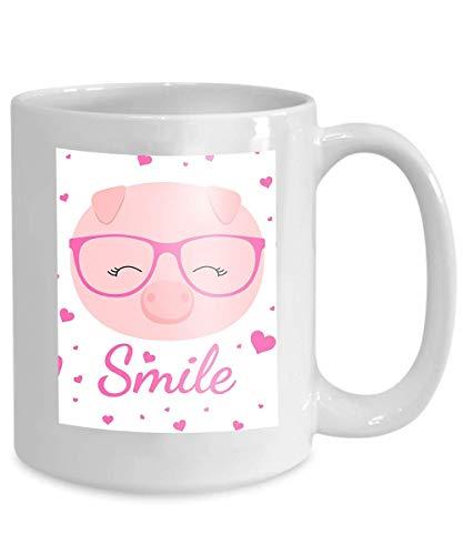 becher kaffee tee tasse schöne schwein gesicht brille rosa herzen weißer hintergrund schöne schwein gesicht brille rosa herzen weißer hintergrund 110z