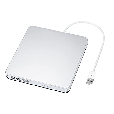 External DVD CD Burner Drive, Patuoxun Portable USB DVD CD RW Writer CD-RW / DVD-RW Player with Classic Silvery for Apple MacBook Air, Macbook Pro, Mac OS, PC Laptop