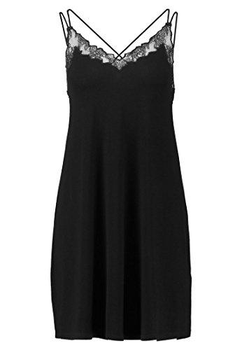 Even&odd mini abito da donna con pizzo su scollo - vestitino intimo elegante per donna, nero, l