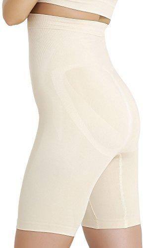 Formeasy Damen Shapewear Miederhose bauch weg stark formend Miederpants mit Bein Taillenformer Shaper angenehme figurformende Wäsche, Beige, Medium (Schwangerschafts Kompressions-leggings)