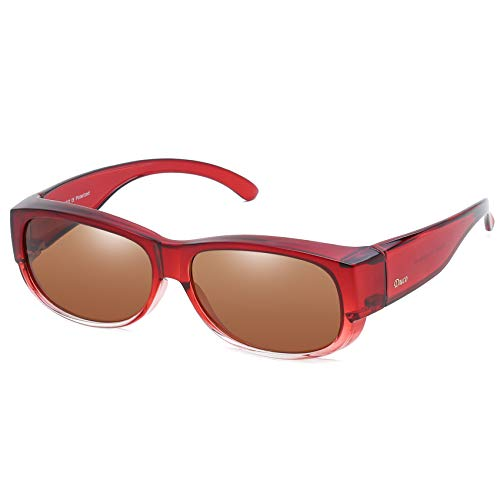cb6fcf13a1 Duco POLARISED OVERGLASSES Wraparound Fit Over Glasses for Myopia 8957  (Wine Red Frame Brown Lens