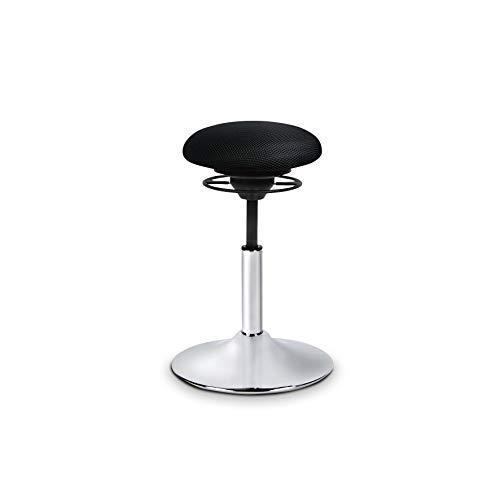 BALIMO Classic, Bürohocker, Sitzhocker, ergonomischerRücken-Trainer, Standfußsilber gebürstet, Bezug schwarz, mit Softpolster