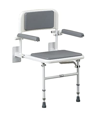 Patterson Medical Wall Mounted Shower Seat with Back and Arms - 460 x 380 mm