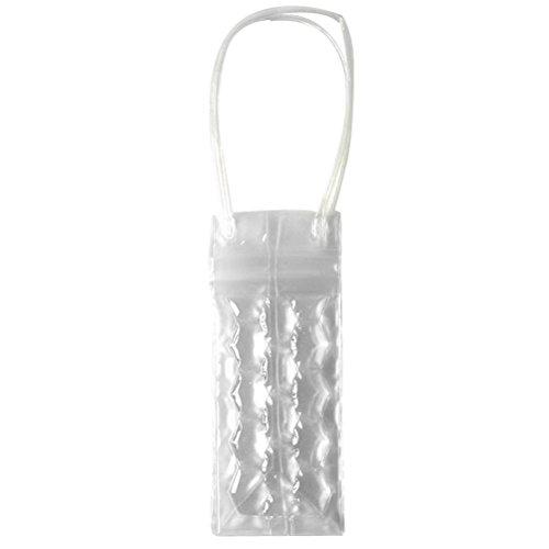 BESTONZON 750 ML PVC Champagne Vin Pouch Cooler Bag Ice Sac fourre-Tout en Gel Transparent de Protection de Transport avec poignée (Transparent)
