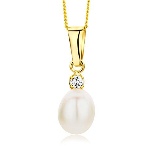 Miore Kette - Halskette Damen Kette Gelbgold 9 Karat / 375 Gold   Süßwasserperle mit Rundschliff Zirkonia Steinchen 45 cm