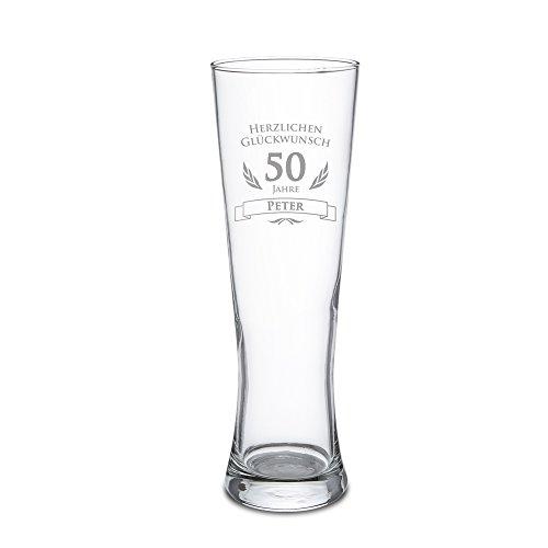 AMAVEL Weizenbierglas mit Gravur zum 50. Geburtstag - Personalisiert mit Namen - 0,5l Bierglas ? individuelles Weizenglas als Geburtstagsgeschenk für Männer ? Geburtstags-Geschenk-Idee