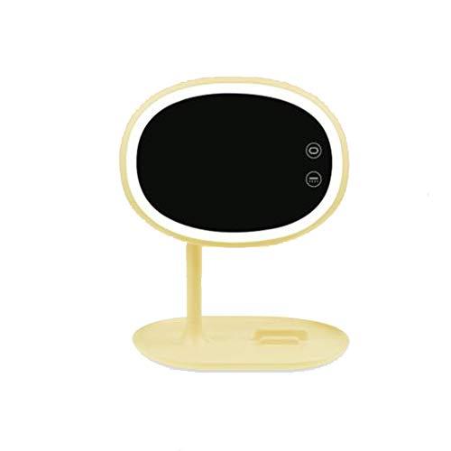 BHXUD Miroir Maquillage, Miroir Cosmétique, Le Miroir De Miroir éClairé par LED Portatif Et Rotatif Peut êTre Placé,Yellow