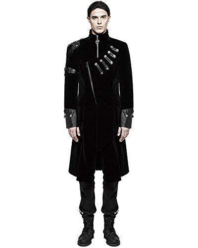 Punk Rave pour Hommes Gothique Militaire Manteau Velours Noir Simili Cuir Armure LARP