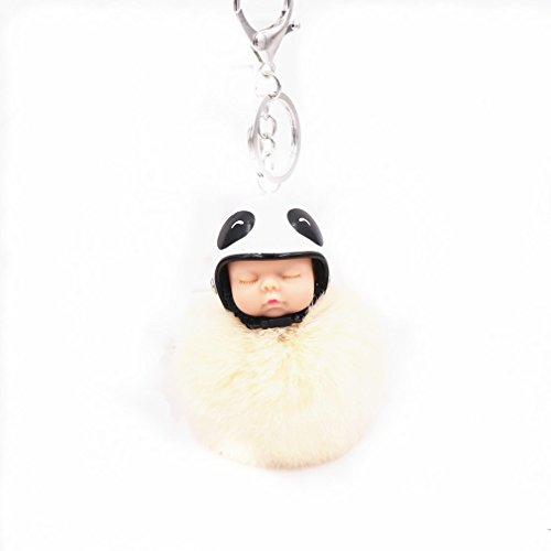 Yinew Smiley Hut Ball Kreative Motorrad Helm Schlüsselbund Niedlich Schlaf Niedlich Puppe Haar Ball Anhänger Kartoon Puppe Plüsch Ornamente Geschenke