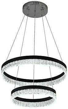 1 3 Lights Circular Crystal Chandelier Ambient Light Electroplated Painted Finishes Metal Crystal Adjustable Dimmable with Remote Control