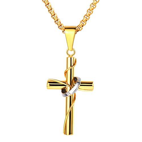 FaithHeart Halskette Herren Damen Kreuz Kette Gravur Edelstahl für Freund Jungen Geschenk mit Schmuckbox Gold, Box Kette