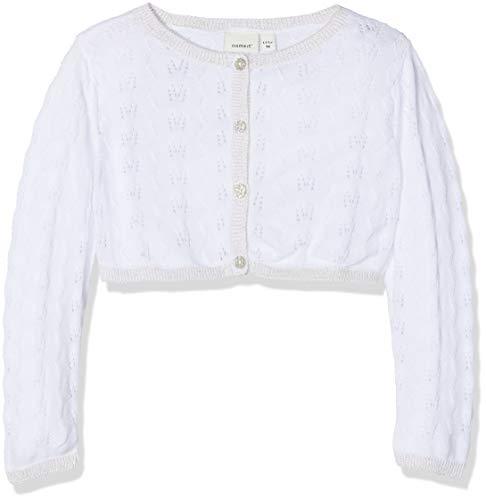 festmode baby NAME IT Baby-Mädchen Strickjacke NBFSANNE LS Knit Bolero, Weiß (Bright White), 62