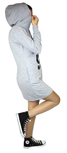 Kapuzen Pullover Kapuzenpullover Baumwolle Tunika Pulli Long Kleid Shirt Langarm Silber Grau