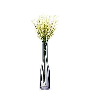 Umi.Essentials Jarrón de Vidrio de 39 cms de Alto 5 cms de Vidrio Transparente Gris