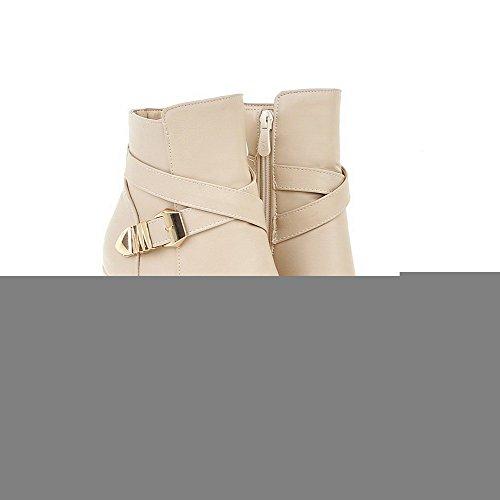 VogueZone009 Donna Punta Chiusa Tacco Alto Bassa Altezza Puro Stivali con Metallo Beige