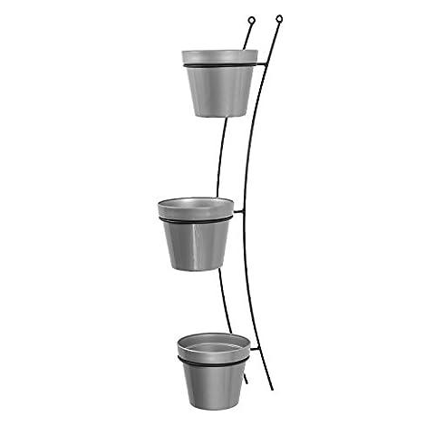 3x Blumentopf Übertopf Topf Patio Gloss D 15 cm silber + Aufhänger Wandhalterung Halter