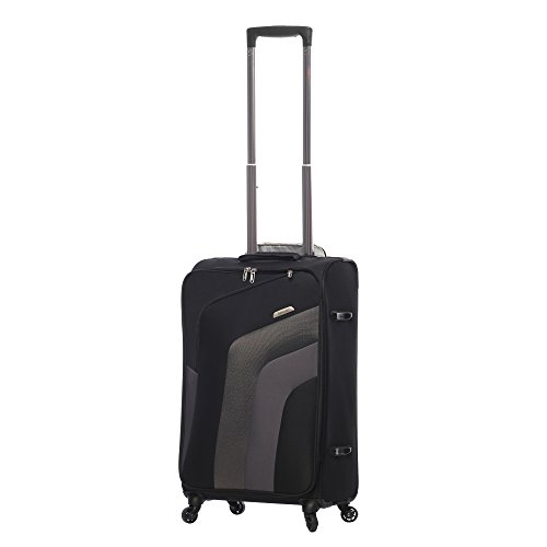 Aerolite Ultra Lightweight Carry On Hand Cabin Luggage Spinner Suitcase Travel Trolley With 4 Wheels (3 x Cabin, Black/Grey V2)