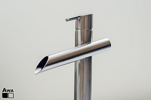 AWA - Zenawa - Nickel Cepillado - GriferÌa Grifo Lavabo - Mezclador de caño alto con efecto cascada para baño