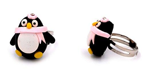 Handmade POLYMER CLAY Pinguin Mädchen Kinder-Ring verstellbare Größe (in Organza Tasche) -