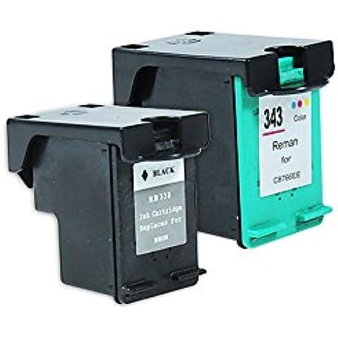 Compatible para HP OfficeJet K 7100 Cartucho de Tinta Multipack SD449EE Nr 338 & Nr 343 CMYK 17 & 22 ml