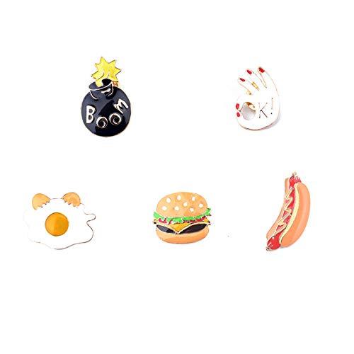 Dog Men's Hot Kostüm - Zuiaidess Broschen Anstecknadeln Für Damen,(5 Pc) Cartoon Cute Burger Hot Dog Omelett Persönlichkeit Corsage Kragen Pin/Für Frauen Mode Anti-Light Unisex Bekleidung Abzeichen Brosche Pins