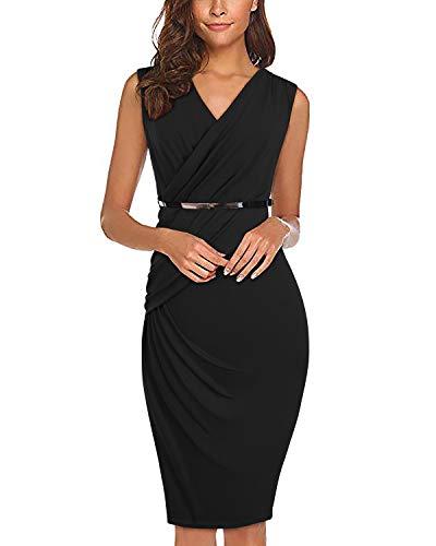SOLERSUN Damenkleider für die Arbeit, Plissee Office Evening Nightout Party Kleider mit Gürtel Schwarz XL - Geraffte Rückseite Unten