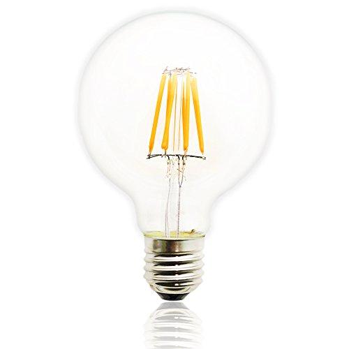 8 Watt Birne LED Klassische Edison Birne ersetzt 60Watt E27 G80, 2200K warmweiße Glühlampe 220V AC, Glas, dimmbar (Edison Lampe Stand)
